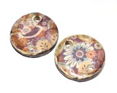 Unusual Ceramic Earring Charms Pair Rustic Stoneware Pottery Floral