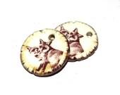 Unusual Ceramic Fox Earring Charms Pair Rustic Stoneware Pottery Wildlife Hand Drawn