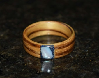 Hand Made (Bentwood Method) Zebrawood with Black Tourmaline and Chunk Mother of Pearl Wooden Ring