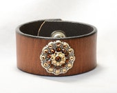 Leather Cuff Bracelet, Womens, Brown Leather cuff,  Bronze and Gold, Jeweled Concho , Size Small to XL or custom order, leather Jewelry