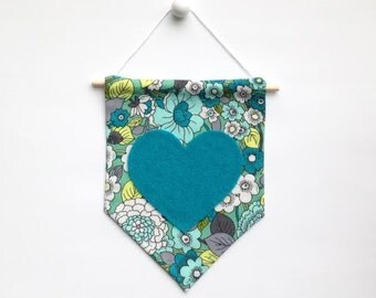 Mini Banner with Floral Print Fabric and Teal Felt Heart