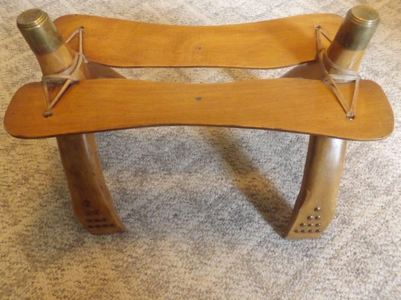 Vintage Wood And Brass Camel Seat Bench Saddle Stool
