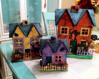 Halloween Glitter House Village