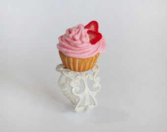 Cupcake Ring - Pink Cupcake Ring - Pastry Ring -Tea Party Ring - Marie Antoinette Ring - mini Food Jewelry - Food Ring _ Kawaii Ring