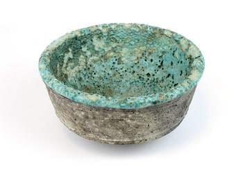 Vintage Japanese Studio Pottery Bowl with a cool lava glaze interior and grey exterior