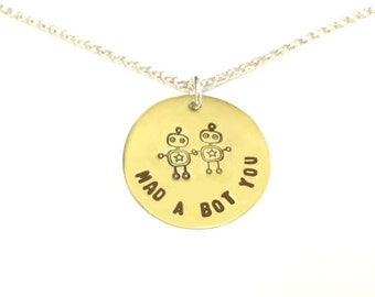 Mad A Bot You - Robot Love Jewelry for the 21st Century - Hand Stamped Brass Robot Sterling Silver Chain