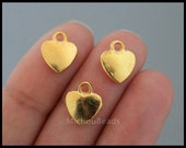 BULK 25 GOLD Heart Charm Pendants - 12mm Small Puffed Golden Metal Heart Love family Charm Dangle - Instant Shipping - USa DIY - 6465