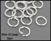 BULK 25 Open SILVER 8mm / 16 Gauge Round JUMPRINGS - Silver Plated Brass Jump Ring Links - Wholesale Findings - Instant Ship - Usa - 6656