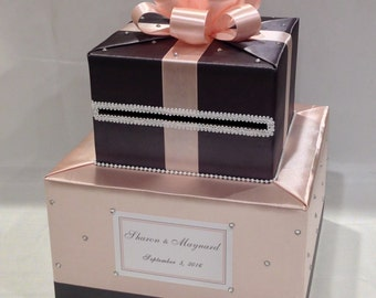 Blush Pink and Charcoal Gray Card Box-Rhinestone/Pearl accents