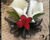 Red black creamy white calla lily WRIST Corsage Wedding Bridal flowers mother grandmother