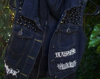 Black and Death Metal Hooded Vest - Studded - Embroided