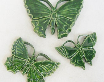 Butterfly Handmade Ceramic Tiles Spring Forest Green Shades Set of 3 -Mosaic Tile Pieces - Craft Tiles