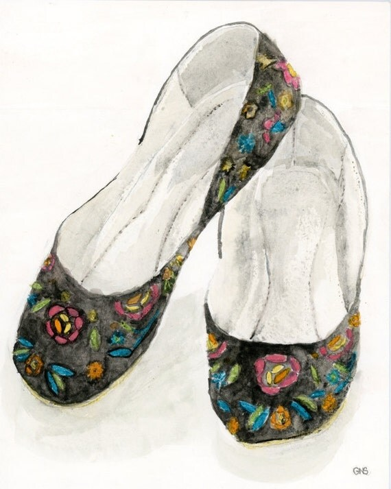 ORIGINAL watercolor painting, shoe painting, fashion painting, 8x10