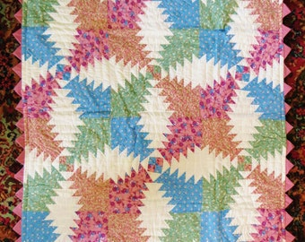 Vintage Pineapple Log Cabin Patchwork Quilt Throw, or Wall Quilt, Pink Green Blue White, Handmade Hand Quilted, 37 x 50 in