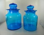 Vintage Teal Glass Apothecary Jars, Takahashi Jars, Hand Blown Glass Jars Counterpoint Jars