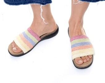 Slide sandals straiped rainbow / woven straw upper summer sandals / Mootsies Tootsies / size 10 M