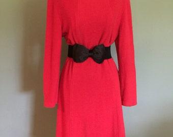 1980's Red Long Sleeved Dress, Medium