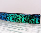 """Large 4"""" Dichroic Fused Glass Barrette Teal Blue Green Hair Barrette Dichroic Glass Barrette Jewelry Gifts for Women Under 30 Dollars"""