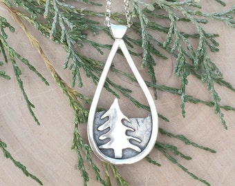 Tree and Mountain Landscape Necklace | Nature Jewelry | Silver Jewelry | Tree Jewelry | Mountain Necklace