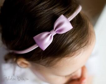 Lilac Baby Headband - Flower Girl Headband - Small Satin Lilac Bow Handmade Headband - Baby to Adult Headband