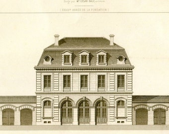 Large Vintage Architectural Print 1873 19th Century French Architecture Ecole d'Equitation