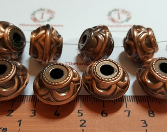 8 pcs per pack 21x15mm and 5mm large hole decorated Beads in Copper Metalized Acrylic