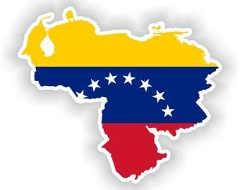 Venezuela Map Flag Silhouette Sticker for Laptop Book Fridge Guitar Motorcycle Helmet ToolBox Door PC Boat