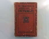 Vintage 1926 Webster's Dictionary: Ever-Ready Self Pronouncing.  Worn Red Cover, All Pages.