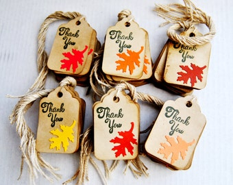 50 Fall leaves Thank You Tags. Kraft Rustic Gift Tags. Favor Tags Wedding Shower Birthday
