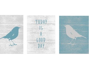 Whimsical Bird Art Prints, Bird Silhouette, Bird Artwork, Today is a good day quote
