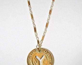 NYC 14K Vintage Token Necklace