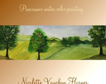 Original Panoramic watercolor painting on High quality 300lb French Rag paper  by Nicolette Vaughan Horner