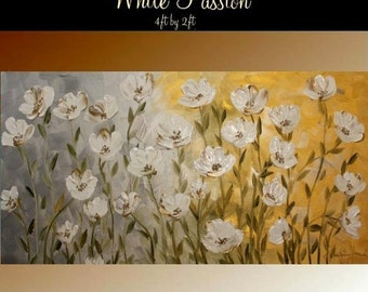 "SALE ORIGINAL XLarge gallery wrap canvas  modern oil impasto floral fine art painting  ""White Passion"" by Nicolette Vaughan Horner"