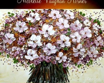 """SALE ORIGINAL Still Life 48"""" x 36""""gallery canvas-Home Decor Contemporary impasto  blossom painting by Nicolette Vaughan Horner"""