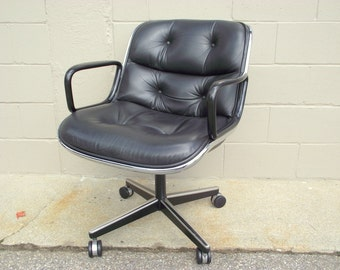 Genuine Pollock Knoll Office Chair Mid Century Executive Task Black Leather w/ Arms - Rolls Spins Tilts Swivels -Danish KEVI Wheels - NICE