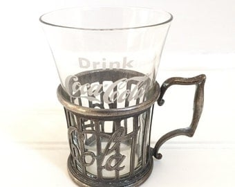 Vintage Coca-Cola Glass - Soda Fountain Glass with Metal Holder - Collectible Coke Glass - Coca Cola Glass - Syrup Glass - Antique Coke