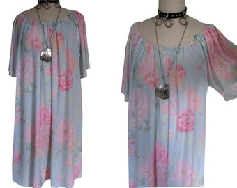 Pastel See Through Floral Girly Bell Sleeved Ethereal Nightgown Dress