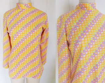 70's Sears Pastel Pink Neon Polyester Mod Geometric Print High Necked BLouse Shirt