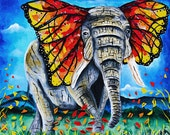 Elephant poster,Abstract, butterfly wings,modern art,india,elephant art,monarch, elephant in water,mosaic, fall leaves, autumn, magic