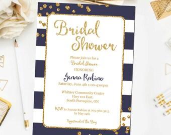 Navy and Gold Bridal Shower Invitation, Printable Gold Navy Bridal Shower Invite Gold Navy Bridal Shower BR13