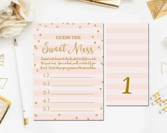 Guess The Mess Game, Printable Baby Shower Guess The Sweet Mess Game, Pink Gold Baby Shower Games Instant Download, Diaper Game BB7