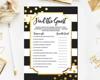 Black and Gold Bridal Shower Games, Find the Guest Bridal Shower Game, Printable Gold Bridal Shower Game Printable Instant Download BR25