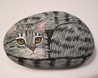 Gray Tabby Cat hand painted on stone - pet rock - by Ann Kelly