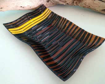 Brown and Black  Stripey Glass Wave Platter