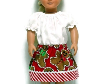 18 Inch Doll Clothes Skirt Gingerbread Man Red White Stripe 15 inch Doll Clothes