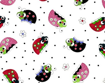 LAZY Little  LADYBUGS -by the half yard by QT fabrics- tossed bugs beetles on white  -24388 z Quilting Treasures