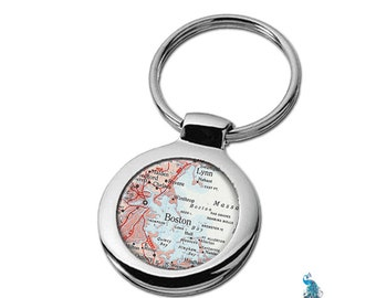 Map Keychain Boston Massachusetts Key Ring Fob