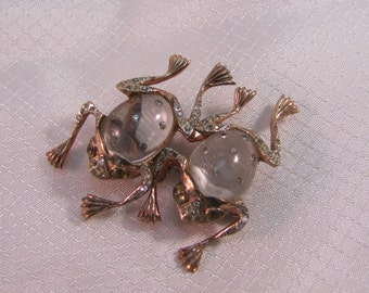 1944 Coro Sterling Jelly Belly Frog Duette Clips Convertable Brooch