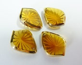 4 glass pendants, 18x13mm, topaz, pear