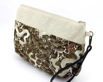 Zipper Wristlet Clutch Purse Makeup Bag Kimono Handbag Dragons Brown